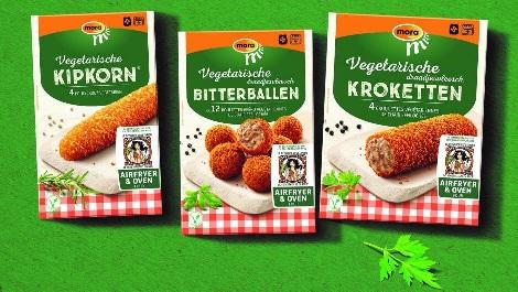 Mora en Vegetarische Slager gaan vegetarische snacks in de kleur groen verpakken